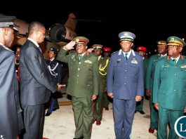 President Lungu being welcomed by Government Officials