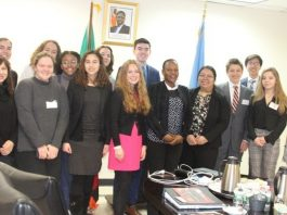 Zambia's Deputy Permanent Representative to the United Nations (UN), Ms Christine Kalamwina (centre), with students from Columbia University's International Relations Council and Association during their visit to the Zambia Mission under the Columbia Model United Nations Conference and Exposition (CMUNCE) Diplomatic Visit Program last week. Picture by WALLEN SIMWAKA/ZAMBIA MISSION