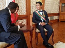 President Lungu with the newly inaugurated President, Andry Rajoelina in Antannarivo in Madagascar