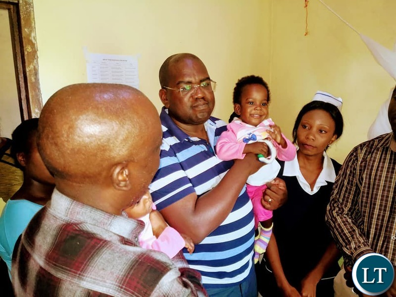 The Minister of Health Dr. Chitalu Chilufya  and  Luapula Province Minister Nickson Chilangwatook visiting the twins, Mapalo and Bupe,  in the care of Health personnel at Kawambwa distinct hospital