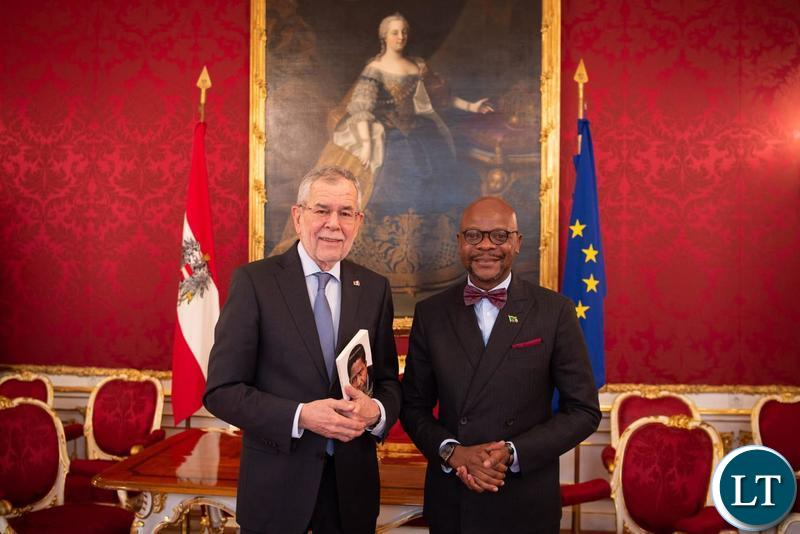 President Alexander Van der Bellen of Austria with Zambia's Ambassador to Germany His Excellency Anthony Mukwita,
