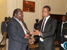 President Edgar Lungu talks to newly sworn inn Ministry of Agriculture Permanent Secretary Songowayo Zyambo at State House