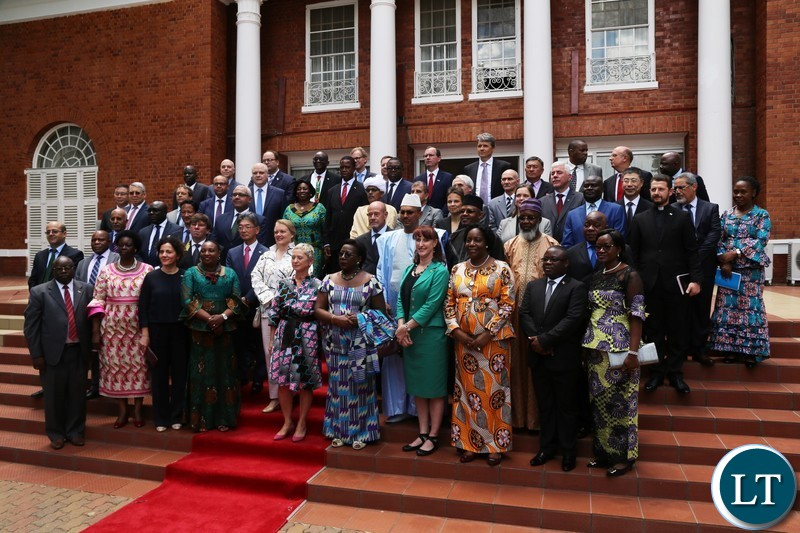 President Edgar Lungu pose for a group Photograph during the Annual Greeting Ceremony for Diplomatic Corps at State House