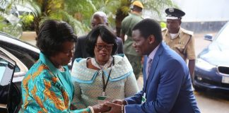 Acting President Inonge Wina being welcome by Minister of High Education Nkandu Luo and Minister of General Education David Mabumba at the Zambia National Educational Conference at Mulungushi Conference Center
