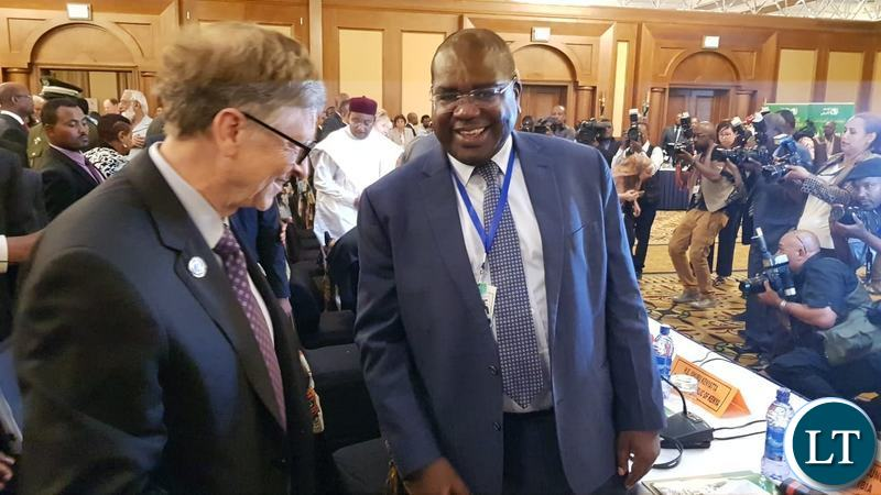 Health Minister Dr Chilufya Chitalu with Microsoft Co-Founder Bill gates