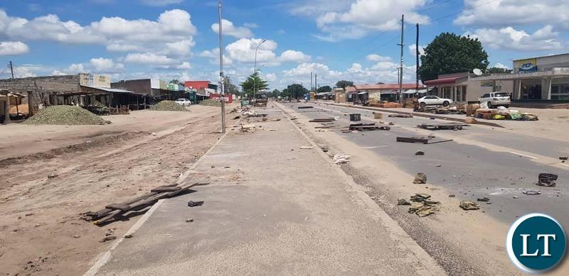 Deserted Street in Sesheke after the political Violence