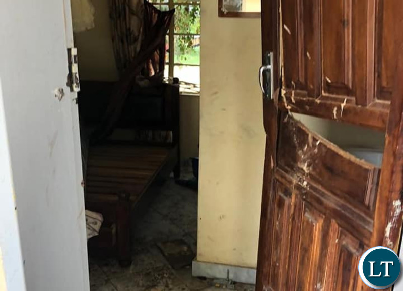 The Broken door of the Guest House where PF cadres were residing. Door damaged and forced open by Zambia Police