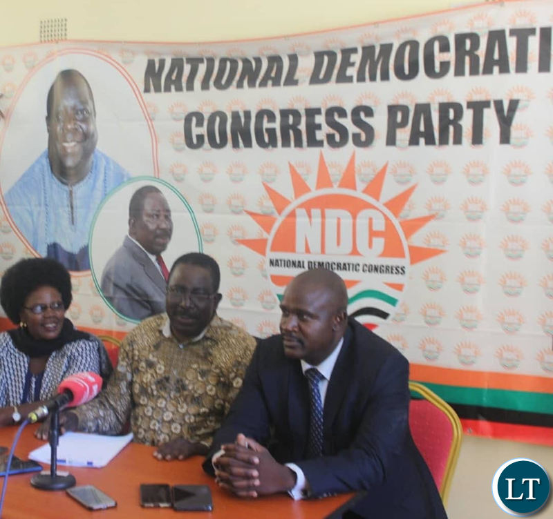 NDC Vice President Mr Joseph Akafumba (c) addressing a media briefing