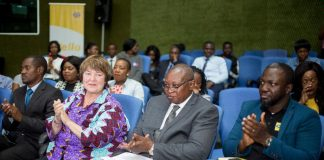 Left to right: David Musonda, Betty Wilkinson (CEO FSD Zambia) Caleb Fundanga and EdmundaBurwuah (MTN)