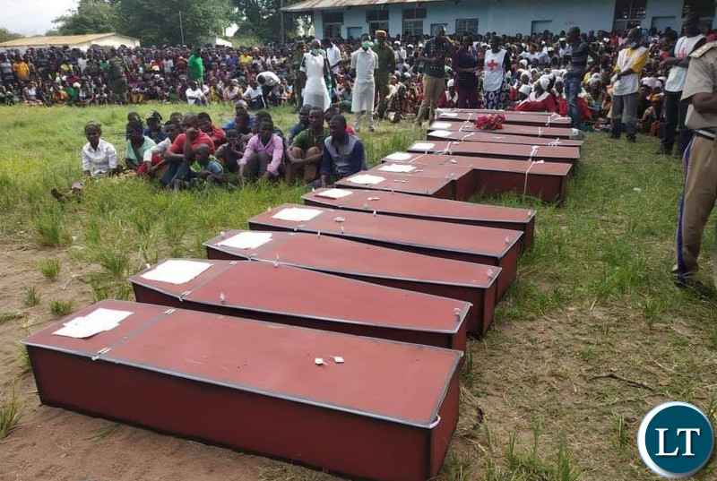 Some of the coffins of the 14 bodies of the boat accident victims that happened this week.