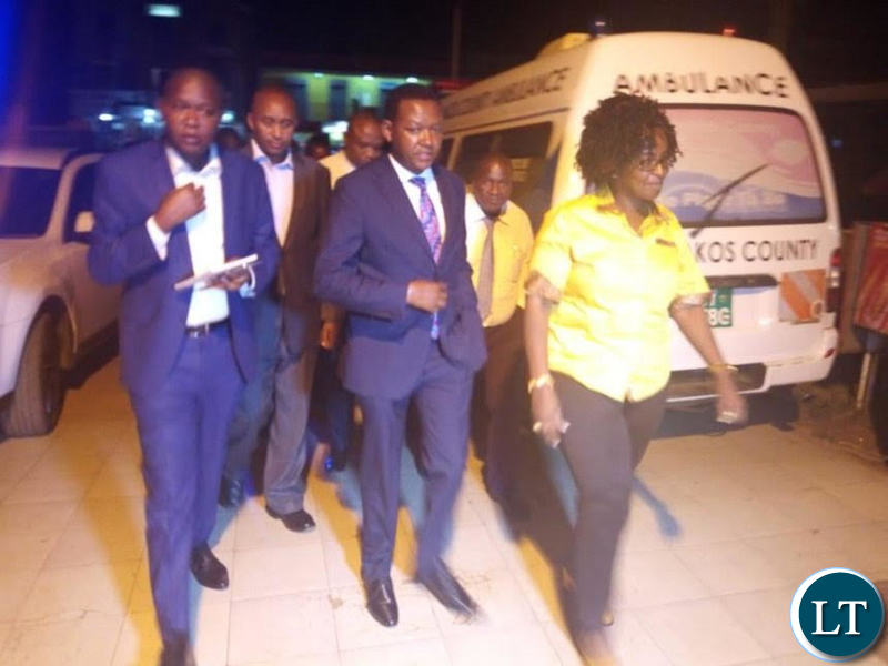 Machakos Governor Alfred Mutua arriving at the Machakos Level five hospital where the two diplomats are being treated.