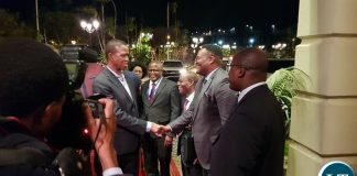 President Lungu being welcomed in Ethiopia by Zambia Officials