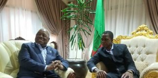 Former President Rupiah Banda with President Lungu in Ethiopia