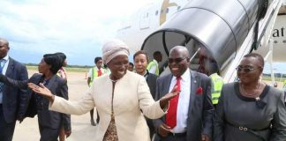 Vice President Inonge Wina on arrival from India at Kenneth Kaunda International Airport in Lusaka on February 14, 2019. Pictures by Lloyd Sibajene ZANIS