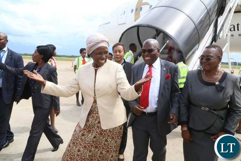 Vice President Inonge Wina on arrival from India at Kenneth Kaunda International Airport in Lusaka on February 14, 2019. Pictures by Lloyd Sibajene ZANIS
