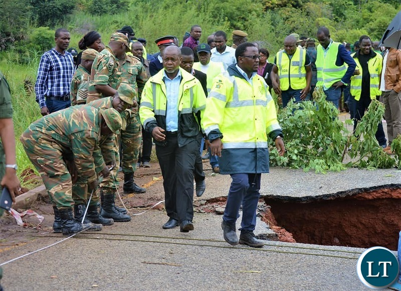 Government Delegation led by Presidential Affairs Minister Hon Freedom Sikazwe inspecting the washed away bridge