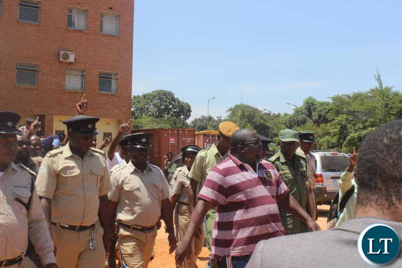 Mr Kambwili arriving at the Magistrate Court