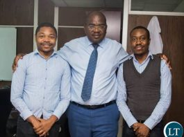 Health Minister of the Republic of Zambia, Hon. Dr. Chitalu Chilufya with Dr. Jacob Kasweshi, the first patient to have successfully undergone a Kidney transplant operation at the University Teaching Hospital