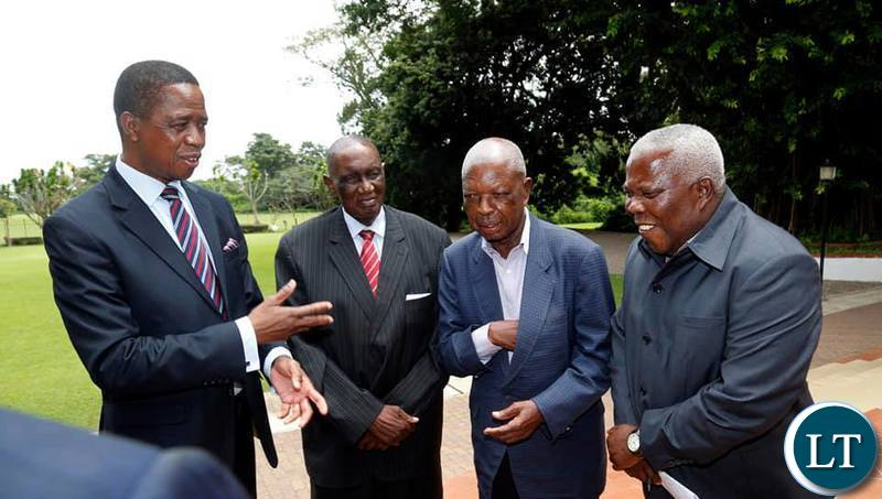President Lungu with Veteran politician and freedom fighter Sikota Wina, former ZCCM Chairman Francis Kaunda,  and Presidential Affairs Minister