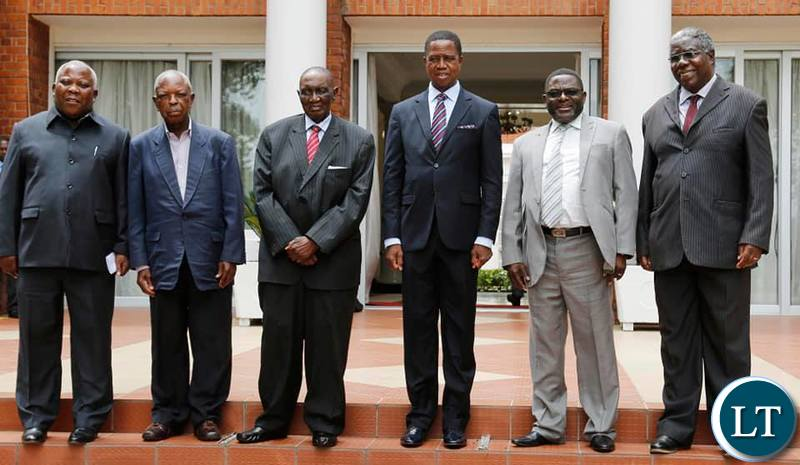 President Lungu with Veteran politician and freedom fighter Sikota Wina, former ZCCM Chairman Francis Kaunda, former Minister in the MMD regime Peter Machungwa and Mr Yotam Kacham