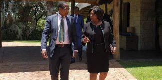 Zambia'sMinister of Finance MARGARET MWANAKATWE (right) and Zimbabwe's Minister of Finance & Economic Development Proffessor MTHULI NCUBE (left) at David Livingstone Hotel, Livingstone, Zambia, after the Zambezi River Authority Council of Minister's Meeting on the Batoka George.