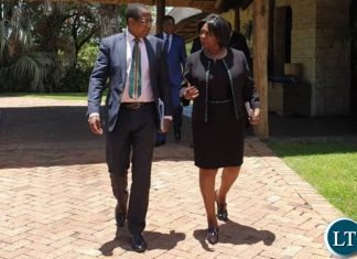 Zambia'sMinister of Finance MARGARET MWANAKATWE (right) and Zimbabwe's Minister of Finance & Economic Development Proffessor MTHULI NCUBE (left) at David Livingstone Hotel, Livingstone, Zambia, after the Zambezi River Authority Council of Minister's Meeting on the Batoka George.