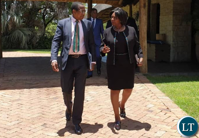 Zambia'sMinister of Finance MARGARET MWANAKATWE (right) and Zimbabwe's Minister of Finance & Economic Development Proffessor MTHULI NCUBE (left) at David Livingstone Hotel, Livingstone, Zambia, after the Zambezi River Authority Council of Minister's Meeting on the Batoka Gorge.