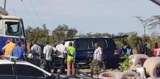 The Toyota Prada that was carrying Mrs Muntemba