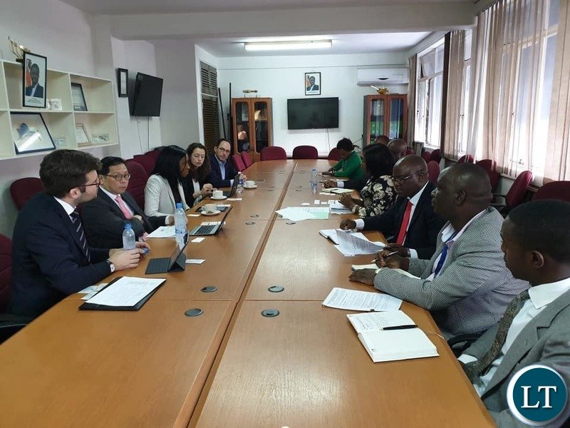 Finance Minister Margaret Mwanakatwe (MP) meeting with Bank of America Merrill Lynch and other investors from Europe and America.