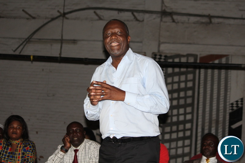 Mutati speaks to party officials in Ndola on Sunday.