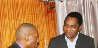 FILE: United Church of Zambia Synod Bishop Sydney Sichilima with UPND leader Hakainde Hichilema during the three Church mother bodies led dialogue meeting at Kapingila house in Lusaka, Zambia