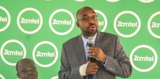 Transport and Communications Minister Dr Brian Mushimba speaking during the launch of the Zamtel 4G network on mobile in Lusaka Province