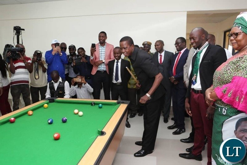 President Lungu inspecting the  common room facility with a pool table