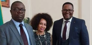 South Africa's Minister of International Relations and Cooperation Hon. Lindiwe Sisulu with Zambia's Foreign Minister Joseph Malanji with Ambassador Emmanuel Mwamba