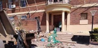 Heaps of garbage at Kabwe Municipal Council offices dumped by protesting Council workers on Friday