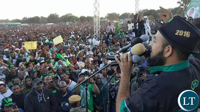 Huzaifa Jada addressing one of the PF campaign rallies