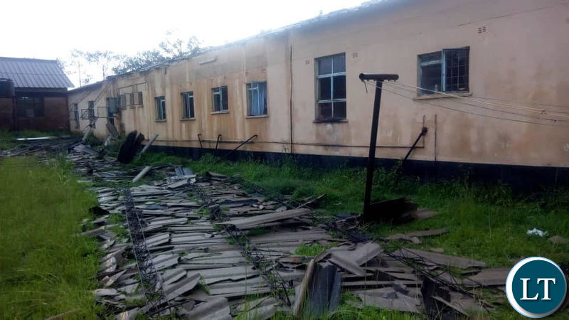 The blown off roof at Solwezi General Hospital Maternity Wing