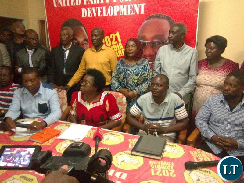 UPND National Chairperson Mutale Nalumango addressing the media at the secretariat after the NMC meeting.