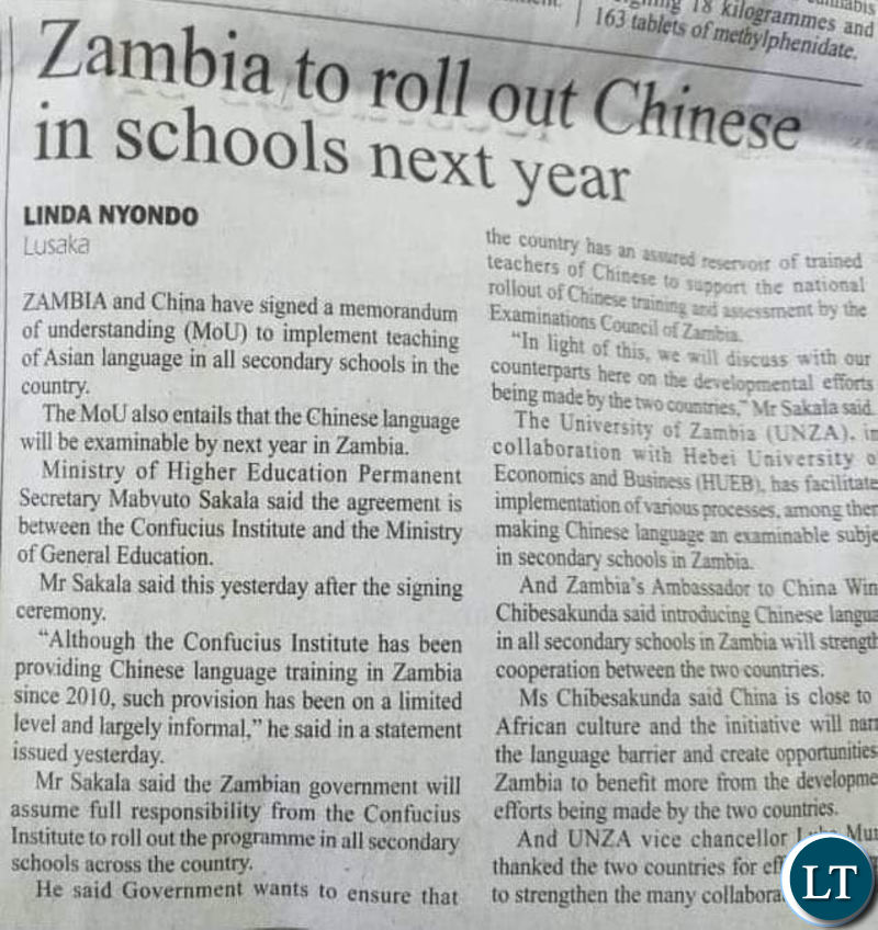 Source: Zambia Daily Mail, 8 May 2019, p.2