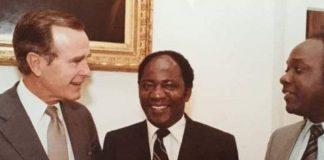 Vernon Mwaanga with Alexander Chikwanda meeting the George Bush Senior