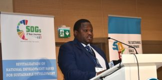Hon. Alexander Chiteme, Minister of National Development Planning, delivering a keynote at SDGs in Rwanda 12-06-2019
