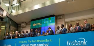 Ecobank Chairman Emmanuel Ikazoboh (2nd from left) opens the London Stock Exchange with Group CEO Ade Ayeyemi (3rd from left