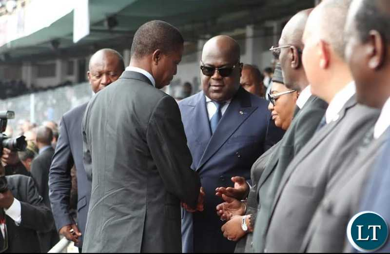 President Edgar Chagwa Lungu with his counterpart President Felix Tshisekedi of the Democratic Republic of Congo (DRC) during the funeral of Mr Etienne Tshisekedi (Father to the DRC leader) held at Stadium the Martyrs on Saturday, 1st June, 2019. Picture by Eddie Mwanaleza/State House