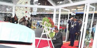 President Edgar Chagwa Lungu during the funeral of Mr Etienne Tshisekedi (Father to the DRC leader) held at Stadium the Martyrs on Saturday, 1st June, 2019. Picture by Eddie Mwanaleza/State House