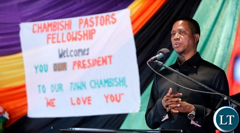 President Edgar Chagwa Lungu addresses congregants at Mount Zion Pentecostal Holiness Church in Chambishi on Sunday,July 7,2019. PICTURE BY SALIM HENRY/STATE HOUSE ©2019