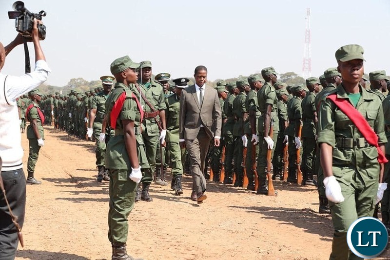 President Lungu at the Zambia Correctional Service pass out parade