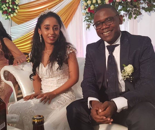 Economic and Equity Party(EEP) leader Chilufya Tayali with his new Wife at a wedding ceremony