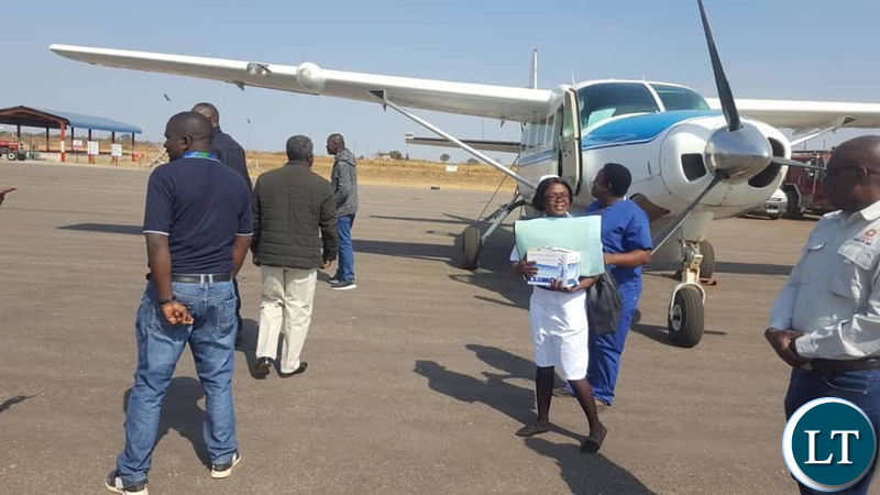The plane evacuating Mr Felix Mutati to UTH from Solwezi