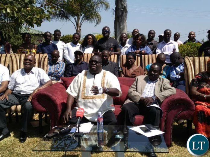 NDC President Chishimba Kambwili at a media Briefing