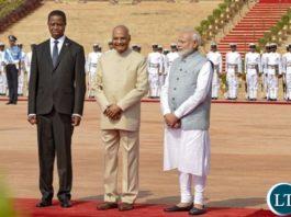 President Edgar Lungu with India's President Shri Ram Nath Kovind and India's Prime Minister Narendra Modi
